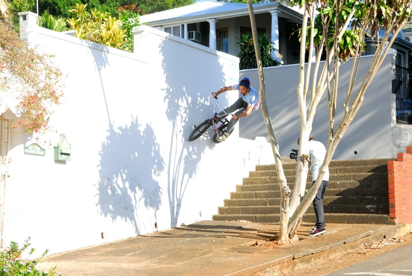 Wall ride down some stairs in the Berea, Durban.