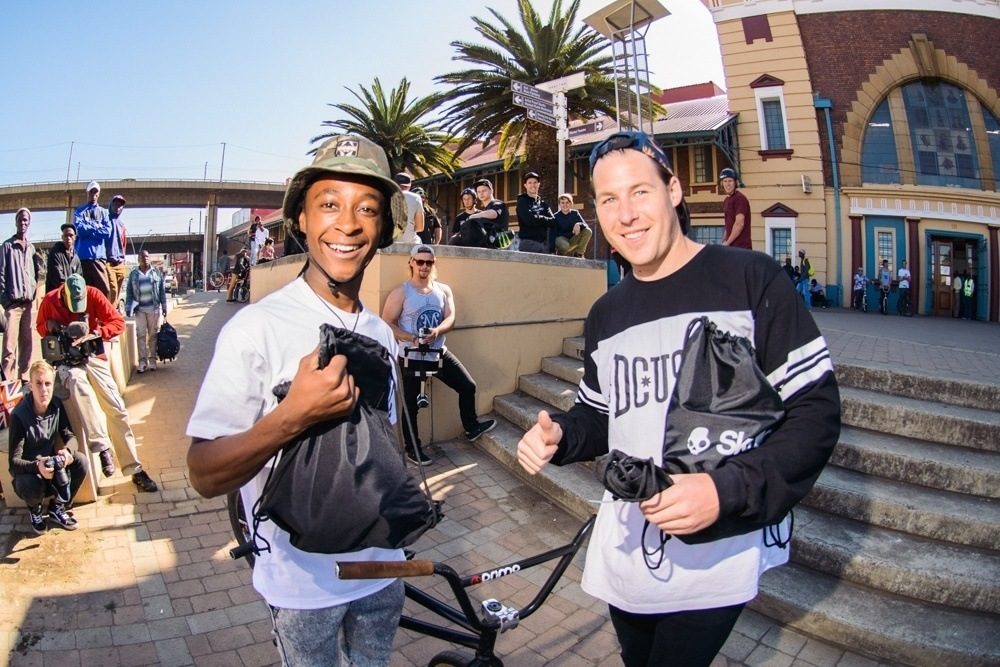 BMX Day 2015 Johannesburg - Nathi scooping up the product prizes