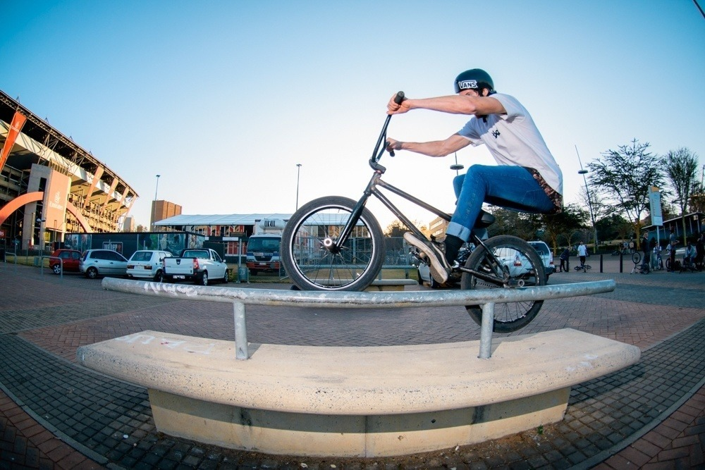 BMX Day 2015 Johannesburg - Werner Heindrich made the trip up from Cape Town and impressed everyone with his peg game - Icepick - Ellis Park