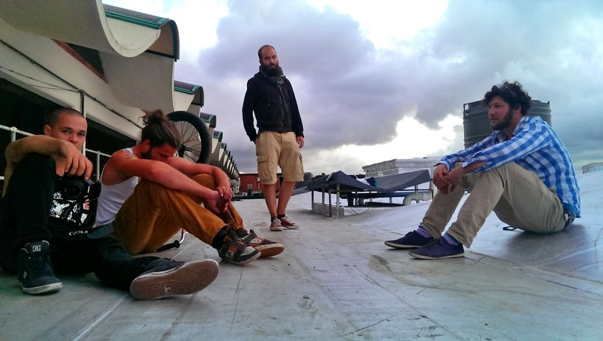 Roof sessions. L-R: Felix, Makl, Kalle-brother and Joschi