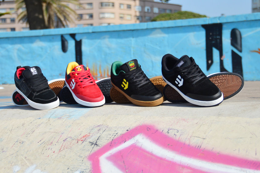 Etnies Brake(Left) and the range of Etnies Marana shoes now available at BMX Direct.