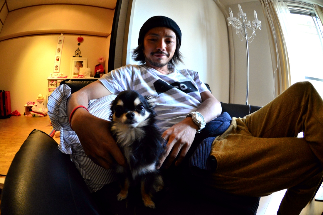 Hiroshi and Festival his dog.