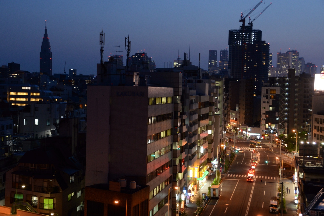 The Tokyo skyline from the 9th floor of my hostel in Akebonobashi, Tokyo.
