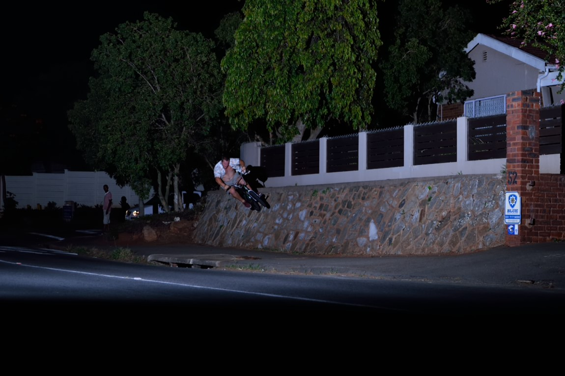 Pitch black, high speed wall ride up in Glenmore.