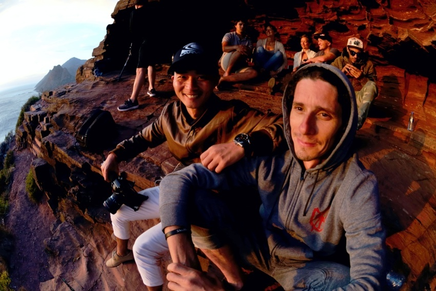 """Chen and I  at the """"secret""""cave down Chapmans Peak. Good spot that."""
