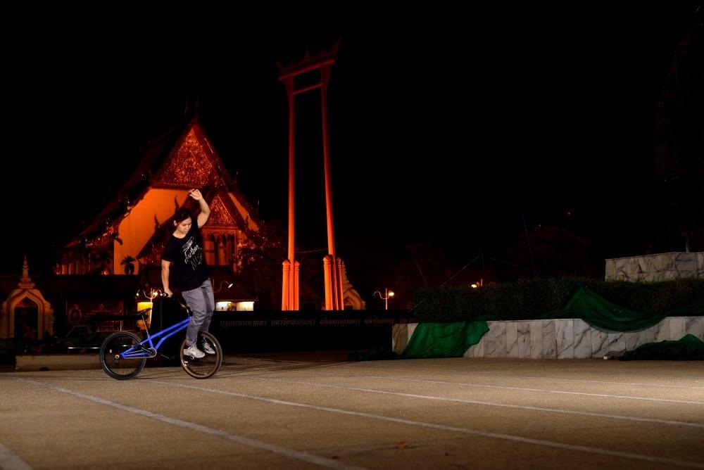 """A"" Girl rider from Bangkok. Rolling at the Giant Swing in Bangkok."