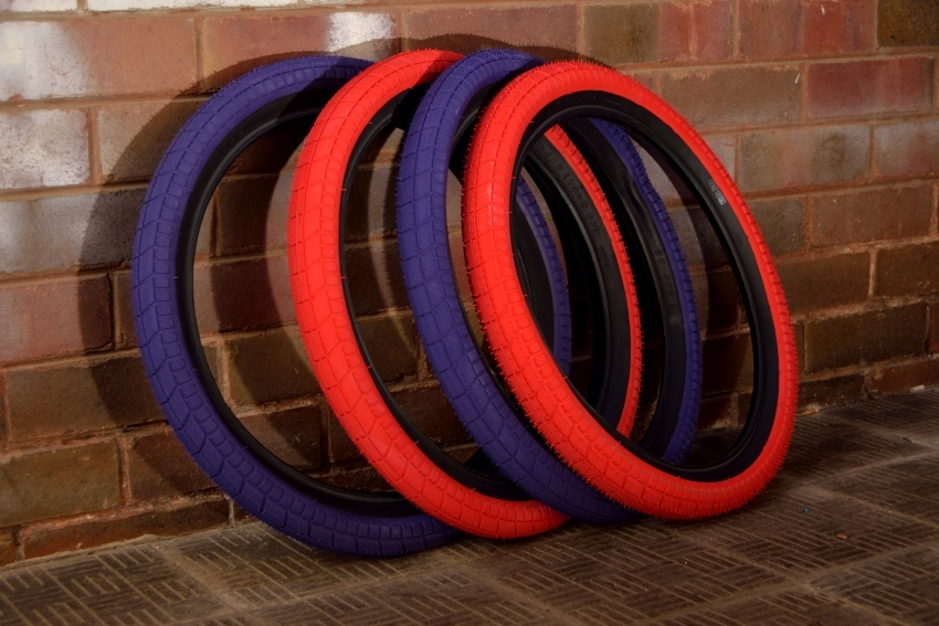 "Cult Dehart tyres. Black/ Red or Black /Purple. 2.35""  >click here"